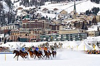 White Turf horse race in front of St Moritz Dorf, Switzerland