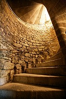 staircase in the castle of combourg, ille and Vilaine, Brittany, France