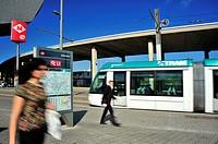 Tram passing through Glòries square, 22 @ district, Barcelona, Catalonia, Spain.