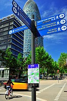 Direction Indicator and Agbar tower in the background Jean Nouvel, 22 @ district, Barcelona, Catalonia, Spain.