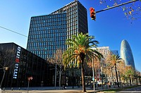 Mediapro Building Carlos Ferrater and Xavier Martí Patrick Genard, television studios for producer Mediapro and Agbar Torre by Jean Nouvel, 22 @, Diag...
