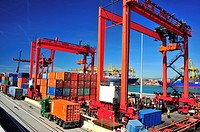 Loading, unloading and transportation of containers in the port of Barcelona, Barcelona, Catalonia, Spain.