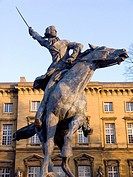 Statue in Metz, in Lorraine, of the famous general Gilbert du Motier Marquis de La Fayette 1757-1834  Metz was the place where he took the decision of...