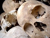 Pile of skulls at the Killing Fields in Choeung Ek, Cambodia
