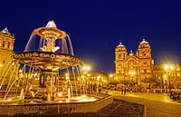City Sqaure Faountain at Night in Cuzco Peru