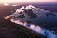 Victoria Falls seen from the air in the sunset, Zambia/Zimbabwe