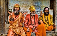 Kathmandu Nepal religious man who are characters painted in costume near river at famous Pashupatinath holi Hindu place on Bagmati River