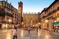 Italy, Verona, palazzo Maffei and Gardello tower at dusk, Piazza dellle Erbe