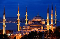 Lit Blue Mosque at dusk on the Bosphorus Sultanahmet Istanbul Turkey