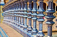 Ceramic decor columns, Plaza de Espana,Seville, Andalusia, Spain