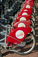 Red Bikes for hire parking, , Seville, Andalusia, Spain