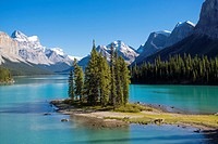 Spirit Island inMaligne Lake In Jasper National Park in Alberta Canada