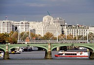 Westminster Bridge foreground and Waterloo Bridge background, London, England, UK