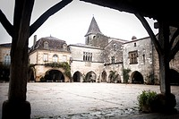 Monpazier, labelled Les Plus Beaux Villages de France The Most Beautiful Villages of France, Place des Cornieres in the Bastide Medieval fortified vil...