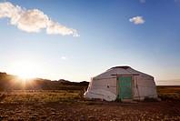 The sun rises in the Gobi desert