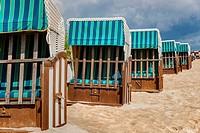 Beach chairs at the Baltic Sea beach, Baltic resort Bansin, Usedom Island, County Vorpommern-Greifswald, Mecklenburg-Western Pomerania, Germany, Europ...