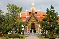 Wat Chalong temple, the largest and most prominent of the 29 Buddhist temples on the island of Phuket, Province of Phuket, Thailand.