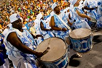 The drums section of Portela samba school performs during the Carnival parade at the Sambadrome in Rio de Janeiro, Brazil, 20 February 2012  The Carni...