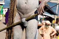 Hindu saint naga baba Shivdasgiri warping his penis in trishul rod in Varanasi on Ganga river ; Uttar Pradesh ; India MR707A