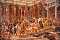 The Visit of the Queen of Sheba to King Solomon by English painter Sir Edward John Poynter, 1st Baronet (20 March 1836 - 26 July 1919)