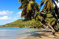 Laborie Bay on the south west coast of St Lucia and the Caribbean Sea