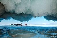 Cars and people on frozen Lake Baikal, island Olkhon, Lake Baikal, Siberia, Russia, Eurasia