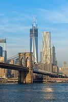 Lower Manhattan with Brooklyn Bridge, New York City, USA