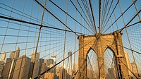 Brooklyn Bridge with Lower Manhattan Skyline,New York City, USA