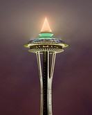Space Needle lighting low cloud at night, Seattle, Washington, USA
