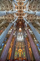 Interior of the Sagrada Familia temple, Barcelona, Catalonia, Spain