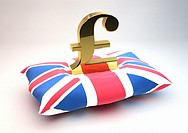 Solid gold British Pound symbol sitting on a Union Jack Flag patterned cushion - Concept image - 3D Render