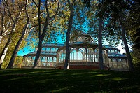 Cristal Palace in El Retiro park , Madrid, autumn