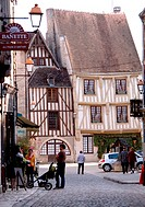 Tonw of France, Burgundy, Yonne, Noyers sur Serein and its medieval atmosphere with old half-timbered houses