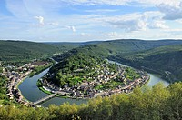 meuse river bending at montherme´, ardennes. aerial landscape of ancient village built over a river bending between hilly woods, shot in bright summer...