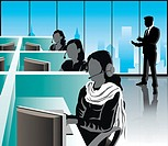 Female customer service representatives in an office, India