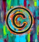 Illustrative image of copyright symbol over multi-colored background