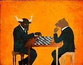 Anthropomorphic bear and bull playing chess game representing the concept of Bear vs  Bull market
