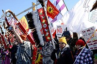 The Idle No More movement and its supporters march near the Ambassador Bridge in Windsor, Canada. The National Day of Action drew about 500 to 700 pro...