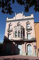 Typical façades, La Jonquera, Girona province, Catalonia, Spain.