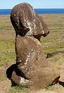 Tukuturi or Tuturi, kneeling moai in Tahitian style, Rapa Nui Easter Island, Chile