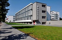 bauhaus from south, dessau, view in direction south, as seen from the street, of the building symbol of modern architecture in the twenties