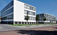 bauhaus from north, dessau, view in direction north, as seen from the street, of the building symbol of modern architecture in the twenties