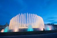 Europe, Spain, Barcelona, The Magic Fountain of Montjuïc Catalan: Font màgica de Montjuïc, Spanish: Fuente mágica de Montjuic is a fountain located at...