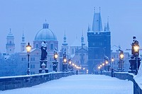 Czech Republic, Prague - Charles Bridge in winter