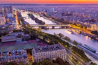 Aerial view of Paris from Eiffel Tower, France, Europe