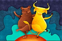 Illustrative image of bear and bull standing together representing share market
