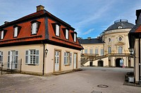 inner court schloss solitude, stuttgart, view of the inner court of the famous castle located in a park in surroundings of the city, to the fore secon...