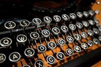 Keyboard of a vintage, manual portable typewriter, circa 1920