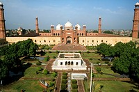 View across the Badshahi Mosque from the Lahore Fort, Lahore, Punjab, Pakistan