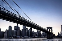Brooklyn bridge with skyline of Manhattan, view from Brooklyn, low-angle perspective, New York City, New York, United States of America